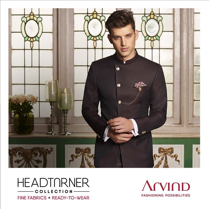 Trend at every turn. With this iconic golden-buttoned bandhgala. Pairs nicely with a Mandarin collar shirt and matching trousers. One of the finest from #Arvind's latest festive wear selection. And the pride and joy of our #HeadTurner Collection. Our iconic silk blend fabric has never looked better! Don't you agree? See more like this right here: https://bit.ly/2geFHkt or shop online at: https://arvind.nnnow.com/