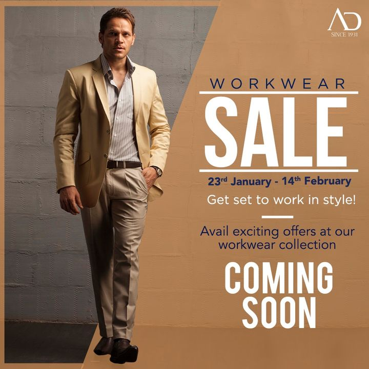Get ready to work in style and comfort. AD workwear sale is starting from 23rd January to 14th February, bringing you exciting offers on the workwear collection. Stay tuned and start wish-listing now. . . .  #ADfashion #ArvindFashion #TheArvindStore #Workwearsale #2021sale #workwear #formals #discounts #Menswear #MensFashion #Fashion #style #comfortable #classicmenswear #texturedfabrics #firstimpressions #dressforsuccess #StayStylish