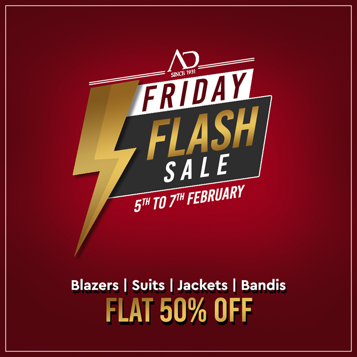Don't miss the Friday Flash Sale on 5th-7th February. Get blazers, suits, jackets and bandis at FLAT 50% OFF.   Shop now at arvind.nnnow.com . . . #ADfashion #ArvindFashion #TheArvindStore #FridayFlashsale #FridaySale #2021sale #discounts #Menswear #MensFashion #Fashion #style #comfortable #classicmenswear #texturedfabrics #firstimpressions #dressforsuccess #StayStylish