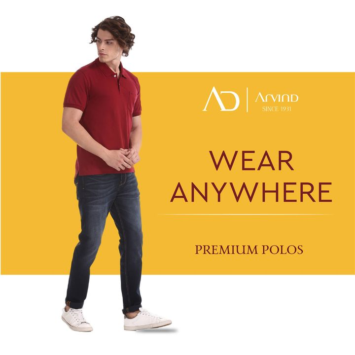 AD by Arvind brings you the coolest range of Premium Polos with unique features such as no fade, anti-microbial and ultra-comfort stretch that make it the perfect outfit to wear anywhere.  . . . #ArvindMenswear #ADbyArvind #FashionForMen #PremiumPolos #PoloTShirts #WearAnywhere #NoFade #AntiMicrobial #UltraComfortStretch