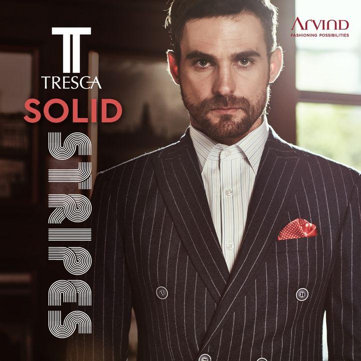 Solid Stripes. Solid Style.  #Arvind #Tresca #Menswear #Suits  #Suave #Dapper #Fashion #StyleUpNow  #FashioningPossibilities