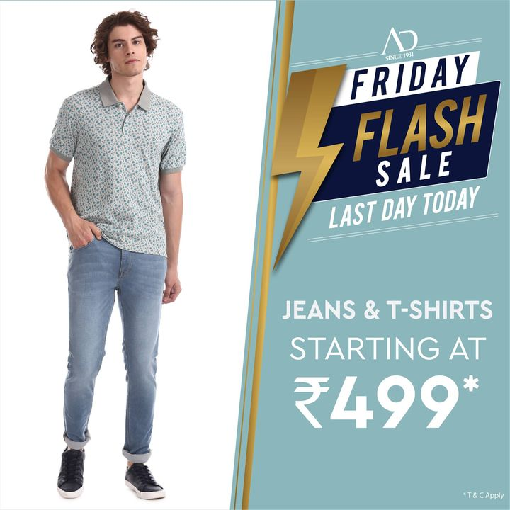 """Time to wear this """"fashionably"""" casual look! Grab Jeans & T-Shirts starting at Rs.499*only, at the AD Friday Flash Sale. Shop now at arvind.nnnow.com  #ADbyArvind #ADfashion #FashioningPossibilities #FridayFlashSale #Menswear  #StayStylish  #Jeans #Tshirts #OfferAlert"""