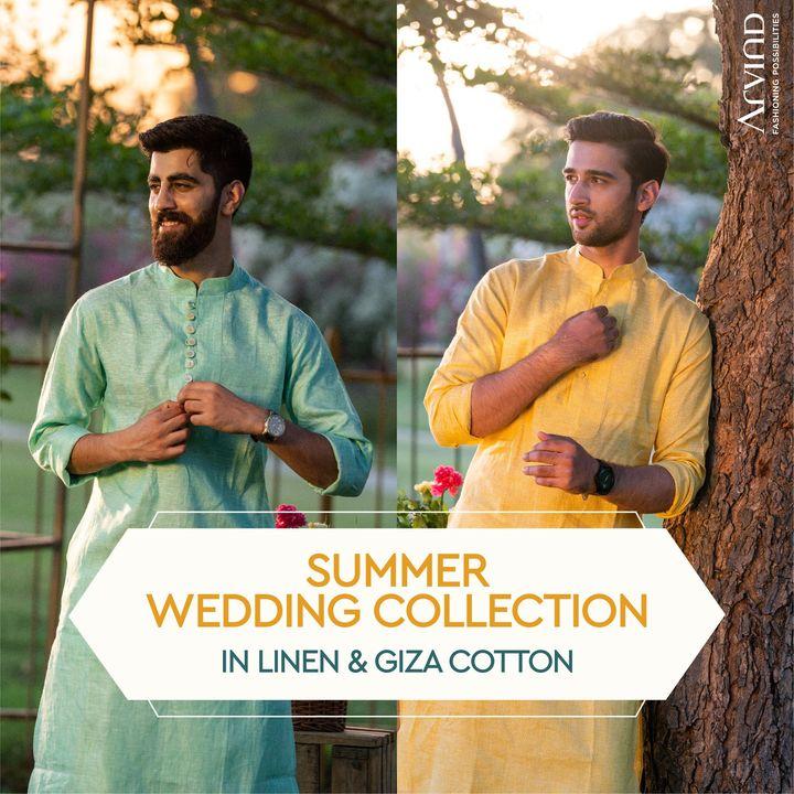 Arvind presentsThe Summer Wedding Collection in Superfine European Linen & Egyptian Giza Cotton.  Please take all the precautions. Stay safe & celebrate.  #Arvind #Summer #WeddingCollection #Linen #LinenLook #GizaCotton #Fabrics #Fashion #Style #StyleUpNow #FashioningPossibilities