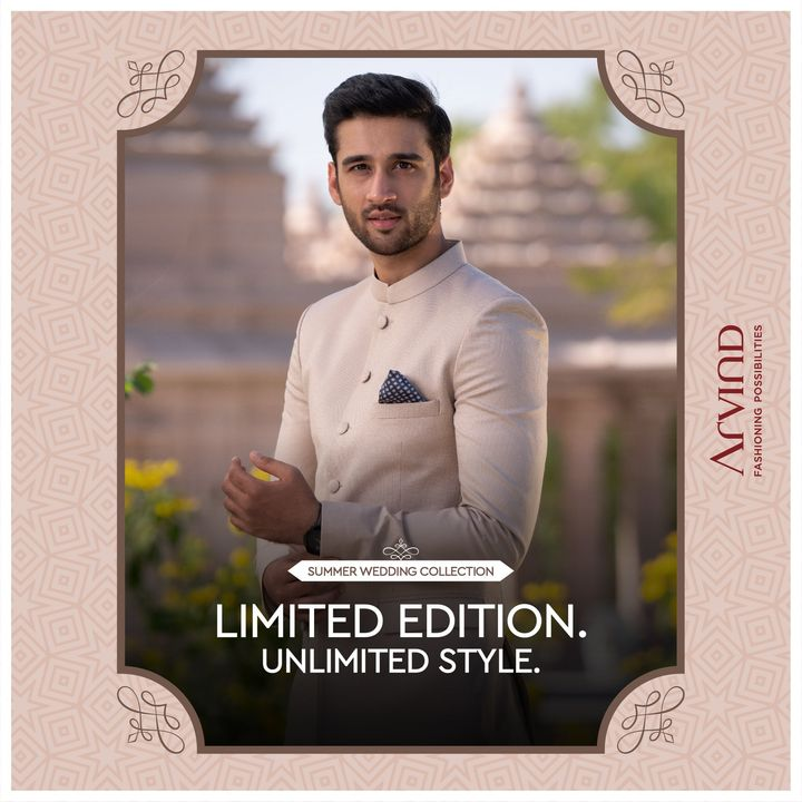 The Summer Wedding Collection is a limited edition fabric collection made with the finest fabrics like Egyptian Giza Cotton, Superfine European Linens and Australian Merino Wool.  Please take all the precautions. Stay safe & celebrate.  #Arvind #Summer #WeddingCollection #Linen #LinenLook #GizaCotton #Fabrics #Fashion #Style  #StyleUpNow #FashioningPossibilities