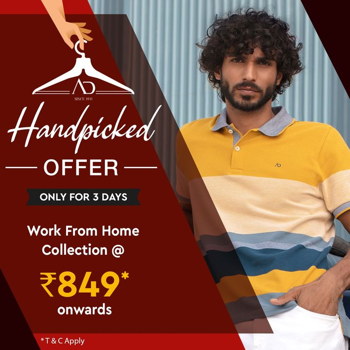#OfferAlert  Work From Home Collection starting at Rs. 849, from 14th - 16th May.   Shop now on arvind.nnnow.com   #Arvind #ADbyArvind #Menswear #WorkFromHome  #Dapper #Fashion #Style #StyleUpNow  #YayFriday #FashioningPossibilities