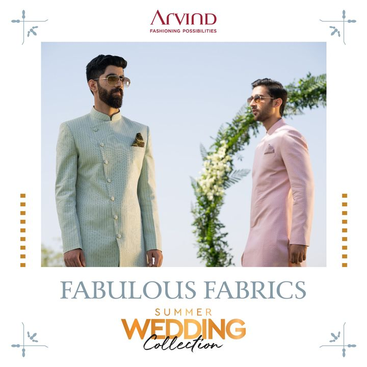 The Summer Wedding Collection has fabulous fabrics made from Egyptian Giza Cotton, Superfine European Linens and Australian Merino Wool.   Please take all the precautions. Stay safe & celebrate.  #Arvind #Summer #WeddingCollection #Fabrics #Fashion #Style  #Linen #LinenLook #GizaCotton #StyleUpNow #FashioningPossibilities