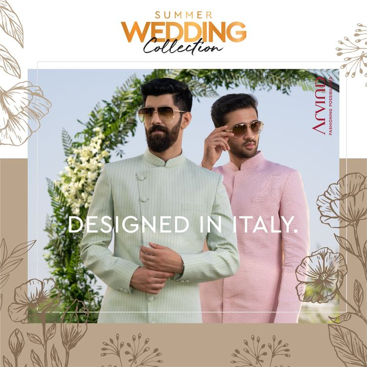 Experience the luxury of exclusive designs, crafted in our Italian Studio.   Please take all the precautions. Stay safe & celebrate.  #Arvind #Summer #WeddingCollection #Fabrics #Fashion #Style  #Linen #LinenLook #GizaCotton #StyleUpNow #FashioningPossibilities