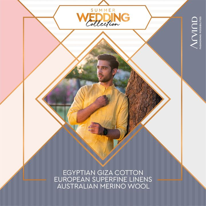 Egyptian Giza Cotton, European Superfine Linens and Australian Merino Wool. There's a lot to look forward to in the Summer Wedding Collection by Arvind.   Please take all the precautions. Please stay safe & celebrate.   #Arvind #Summer #WeddingCollection #Fabrics #Fashion #Style  #StyleUpNow #FashioningPossibilities