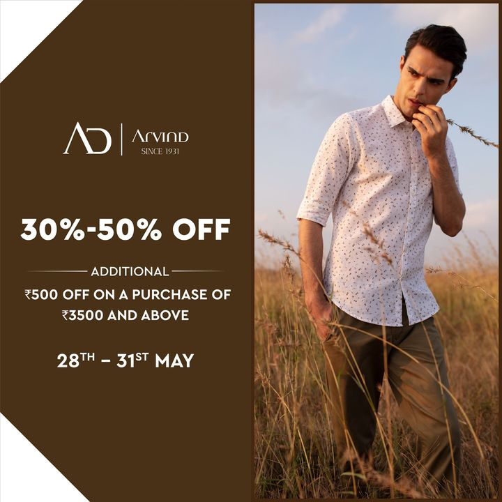 #OfferAlert  Enjoy double offers on the AD menswear collection, from today to 31st of May, only on arvind.nnnow.com  #Arvind #ADbyArvind #Menswear  #Fashion #Style #YayFriday #Dapper #FashioningPossibilities