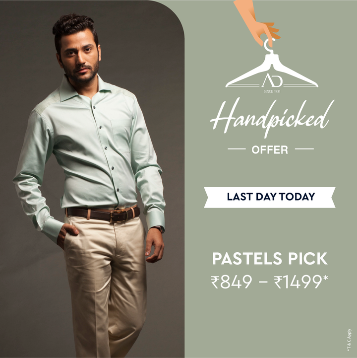 #OfferAlert Discover an exquisite collection of pastels at the AD Handpicked Offer.  Last day today! Shop now at arvind.nnnow.com  #Arvind #ADbyArvind #Menswear #Sunday #Style #StyleUpNow #Fashion #Dapper #FashioningPossibilities
