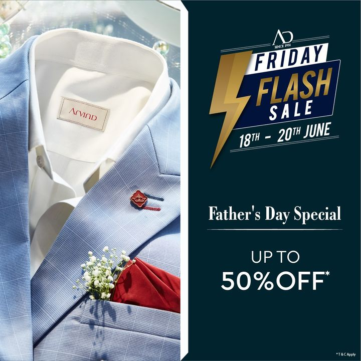 #OfferAlert The countdown to Father's Day has begun and we have a surprise for you! Get up to 50% Off* at the AD Friday Flash Sale from 18th to 20th June 2021! Shop now at arvind.nnnow.com  #Arvind #ADbyArvind #Menswear #FathersDaySpecial #Sale #Style #Fashion #Friday #YayFriday #FridayFlashSale  #StyleUpNow #Dapper #FashioningPossibilities