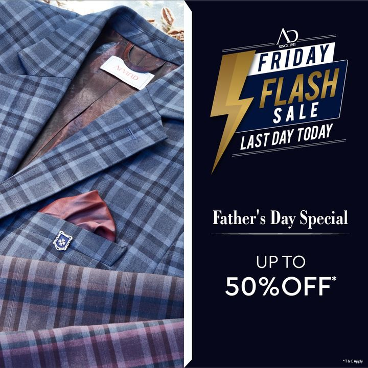 #OfferAlert Celebrate Father's Day with the perfect gift for your father or perhaps a fashion treat for yourself at the AD Friday Flash Sale. Last Day Today! Shop now at arvind.nnnow.com  #HappyFathersDay #Arvind #ADbyArvind  #Menswear #Style #Sale #Sunday #StyleUpNow  #Dapper #FashioningPossibilities