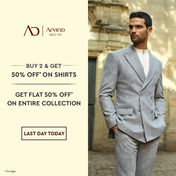 #OfferAlert Double the joy now with AD by Arvind at half the price, from 25th to 29th June! Buy 2 Shirts and get 50% off*. Also enjoy flat 50% off* on the rest of the collection! Shop now on arvind.nnnow.com   #Arvind #ADbyArvind #Menswear  #Style #Sale #StyleUpNow   #YayFriday #Fashion #Dapper  #FashioningPossibilities