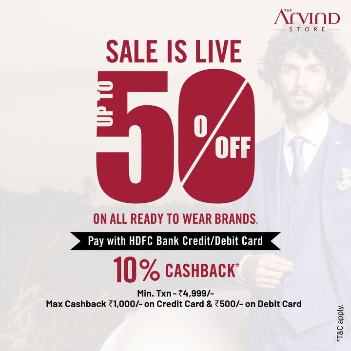 The sale is now open for all at  #TheArvindStore  Hurry and grab up to 50% off* on ready to wear brands.  We take all the safety precautions.  #Arvind #ReadyToWear #Menswear  #Sale #OfferAlert #StyleUpNow #Dapper #FashioningPossibilities
