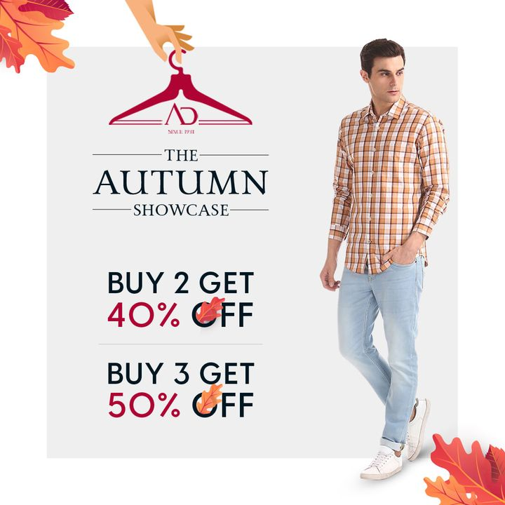 The Autumn Showcase is all set to make a sale-sational move in all the fashion enthusiasts like you! Buy 2 and get 40% Off and Buy 3 and get 50% off!  Shop now: arvind.nnnow.com  #ADHandpicked #ADbyArvind #FashioningPossibilities #FridayFlashSale #ReadyToWear #Menswear #StayStylish #OfferAlert
