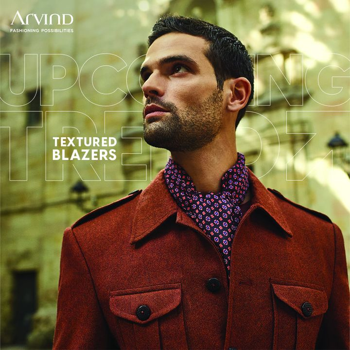 Take a Sneak-Peak into the Upcoming Winter Trend in the realm of Men's Formal & Festive Wear.   Textured Blazers can add character to any ordinary outfit by creating an enticing & classic look.  Shop this trend here: https://arvind.nnnow.com/products?category=Blazers&p=1&f-pa=Textured--Heathered--Patterned%20knit  #ADbyArvind #FashioningPossibilities #ReadyToWear #Menswear #StayStylish #AutumnCollection #WinterCollection #TexturedTailoring #Blazer #Suit #FormalWear #MensFashion #Trends #Fashion #MensWear
