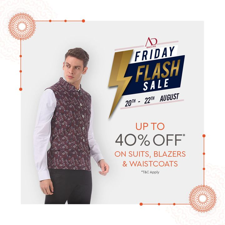 Take on the center stage with Festive Attires and let this Raksha Bandhan be a memorable one!  We're here with our Friday Flash Sale, Get Flat 40% OFF on Suits, Blazers & Waistcoats. Shop now- https://arvind.nnnow.com/arvind-40  #ADbyArvind #Arvind #ArvindMensWear #FashioningPossibilities #FridayFlashSale #Sale #ReadyToWear #Menswear #StayStylish #OfferAlert #Rakshabandhan #RakhiOutfit #FestiveOutfit #Suit #Blazer #Waistcoat