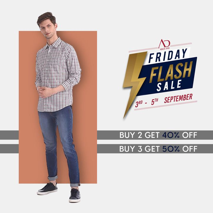 Set your style goal & shop!  The Friday Flash sale is offering all that you want at prices you can't say no to!  Shop now: https://arvind.nnnow.com/arvind-40-50  #ADbyArvind #Arvind #ArvindMensWear #FashioningPossibilities #FridayFlashSale #Sale #ReadyToWear #Menswear #StayStylish #OfferAlert #LoveForShopping #ShopTillYouDrop