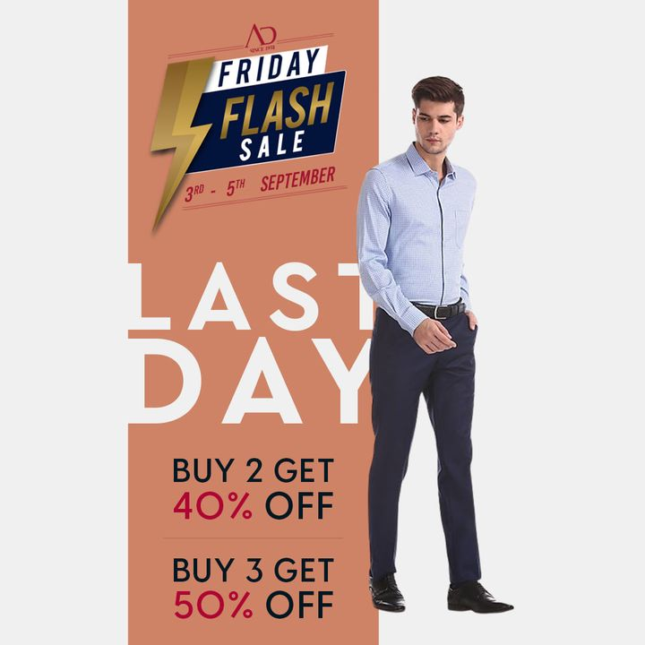 Don't hold yourself back for the last day of sale is TODAY! Revamp your wardrobe today with the AD by Arvind Collection.  Shop now: https://arvind.nnnow.com/arvind-40-50  #ADbyArvind #Arvind #ArvindMensWear #FashioningPossibilities #FridayFlashSale #Sale #ReadyToWear #Menswear #StayStylish #OfferAlert #LoveForShopping #ShopTillYouDrop