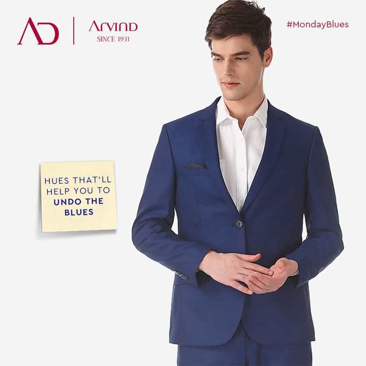 Presenting a glimpse of the fashion statement in style; that will help you to alter the Monday monotony into motivation.  Undo the blues in hues of Arvind.  Shop now : https://arvind.nnnow.com/clothing?p=1&f-co=blue  #MondayMotivation #UndoTheBlues #GoodKindOfBlues #MondayBlues #MesmerizingMondayBlues #WeekdayStyle #OfficeWearCollection #FashioningPossibilities #Arvind #Menswear