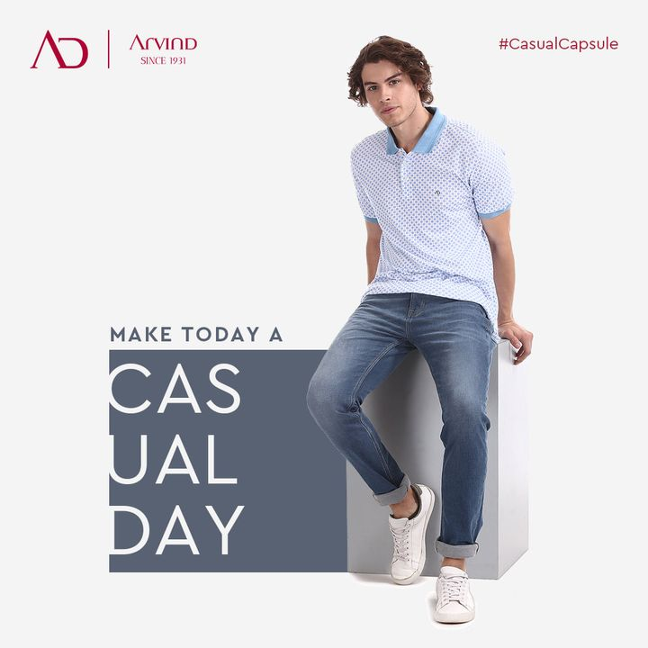 Uncover the charisma of casual-wear and make today a casual day. Keep it comfortable and stay cool with Arvind Casual Capsule.  Shop Now: https://arvind.nnnow.com/clothing?p=1&category=Jeans--Polo%20Shirts--T-Shirts--Jackets  #CasualCapsule #CharismaOfCasualWears #Casuals #CasualStyle #WeekdayStyle #Comfortable #StayCool #Arvind #Menswear #FashioningPossibilities