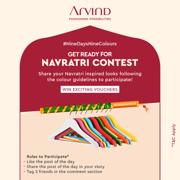 Participate in the Navratri Contest and Stay Tuned to win Exciting Vouchers  Rules to participate:* Like the post of the day Share the post of the day in your story Tag 2 friends in Comment Section to participate in this contest Share your Navratri Ready image *T&C Apply  #Arvind #FashioningPossibilities #LandOfFestivals #FestiveReady #AnOdeToCelebrations #FestiveLook #FestiveLookBook #ArvindLookBook #EthnicWears #TraditionalOutfits #Menswear #ClassicCollection #ContestAlert #NavratriContest #9Days9Colours
