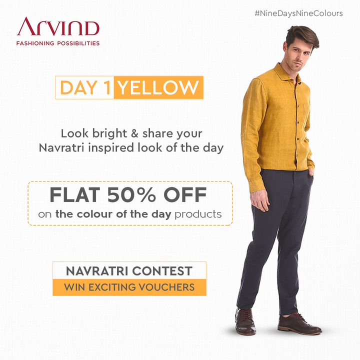 Winning vouchers became so easy & simple!  Share your Navratri inspired look in Yellow & win.  Rules to participate:* Like the post of the day Share the post of the day in your story Tag 2 friends in Comment Section to participate in this contest Share your Navratri Ready image *T&C Apply Shop Now: https://bit.ly/3av4JEN  #Arvind #FashioningPossibilities #LandOfFestivals #FestiveReady #AnOdeToCelebrations #FestiveLook #FestiveLookBook #ArvindLookBook #EthnicWears #TraditionalOutfits #Menswear #ClassicCollection #ContestAlert #NavratriContest #9Days9Colours