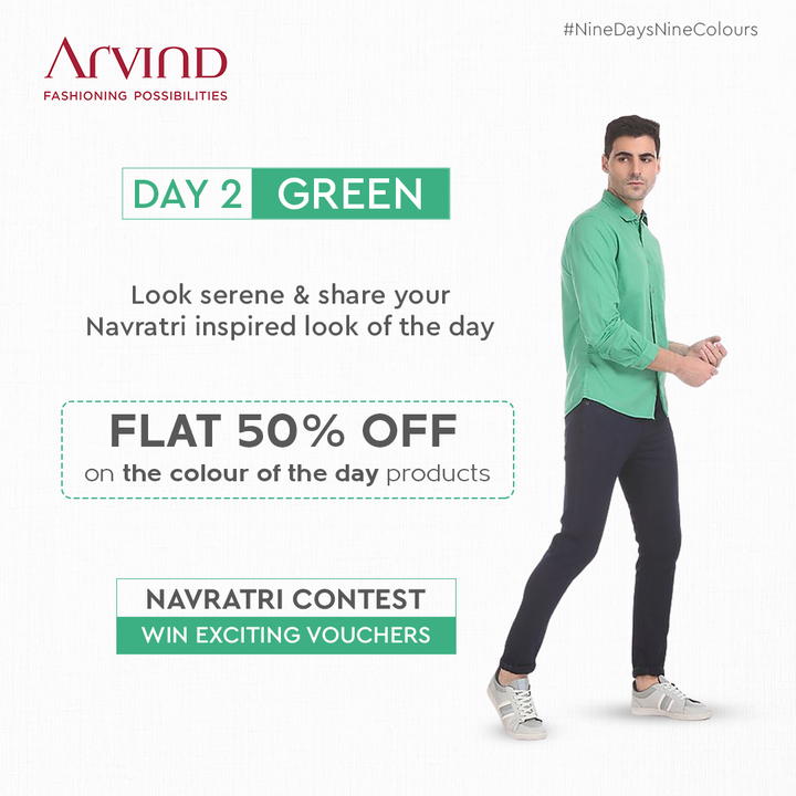 Enjoy shopping & winning exciting vouchers!  Calling all the men to participate with excitement! Share your Navratri inspired look in Green & Win.  Rules to participate:* Like the post of the day Share the post of the day in your story Tag 2 friends in Comment Section to participate in this contest Share your Navratri Ready image *T&C Apply Shop Now: https://bit.ly/2YsLBV8  #Arvind #FashioningPossibilities #LandOfFestivals #FestiveReady #AnOdeToCelebrations #FestiveLook #FestiveLookBook #ArvindLookBook #EthnicWears #TraditionalOutfits #Menswear #ClassicCollection #ContestAlert #NavratriContest #9Days9Colours #GoGreen