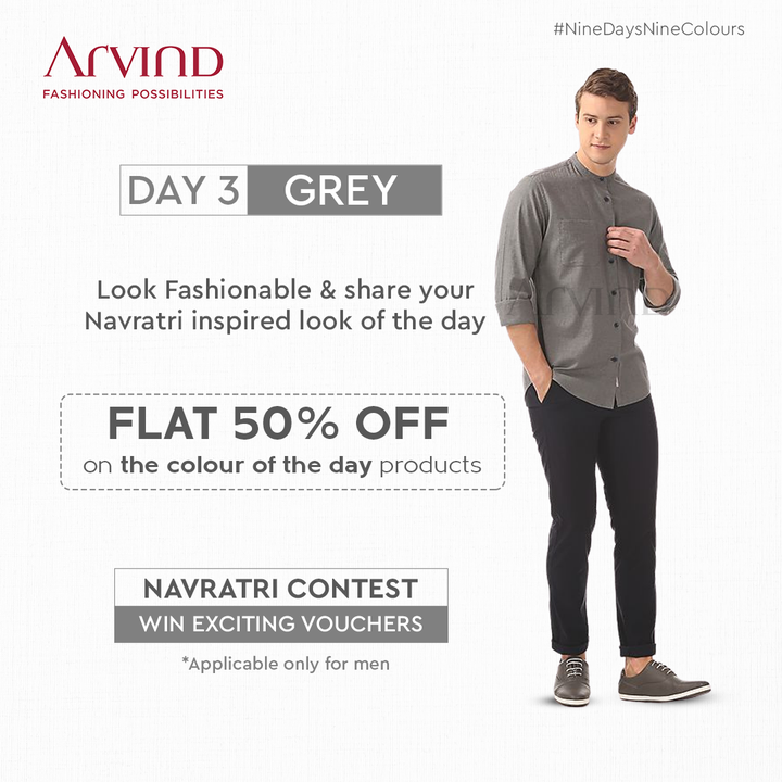 Dress up in Grey today & stand a chance of winning gift vouchers!  Calling all the men to participate and win. Share your Navratri inspired look in Grey Today.  Rules to participate:* Like the post of the day Share the post of the day in your story Tag 2 friends in Comment Section to participate in this contest Share your Navratri Ready image *T&C Apply Shop Now: https://bit.ly/3DnF6BT  #Arvind #FashioningPossibilities #LandOfFestivals #FestiveReady #AnOdeToCelebrations #FestiveLook #FestiveLookBook #ArvindLookBook #EthnicWears #TraditionalOutfits #Menswear #ClassicCollection #ContestAlert #NavratriContest #9Days9Colours #GraciousGrey