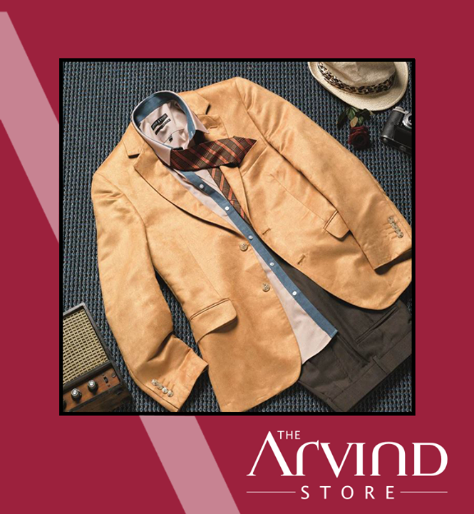 Look #stylish this #festive season with #Yellow suede blazer!   #Fashion #TAS #TheArvindStore