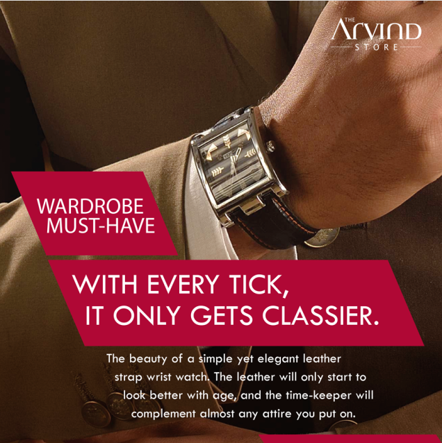 An #elegant #leather strap wrist watch is a must-have in your #Wardrobe!   #MensFashion #TAS #TheArvindStore