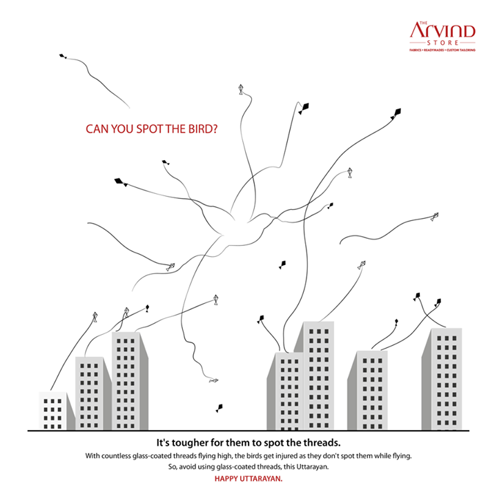 Celebrate with a sense of responsibility.  #KiteFlying #Sankranti #ArvindStore #SaveBirds