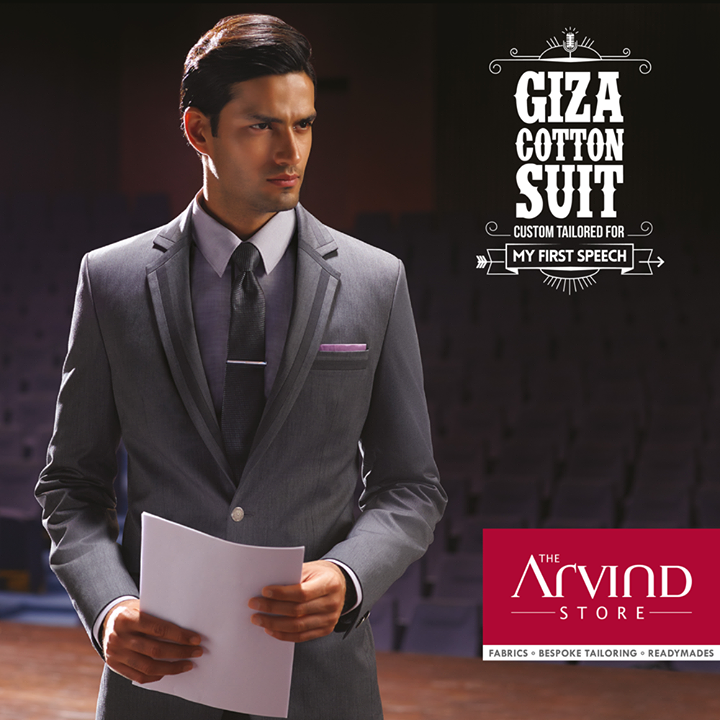 Giza #Cotton #Suit, custom tailored for your #FirstSpeech.  #MyFirstSuit #TheArvindStore #MensFashion #Summers