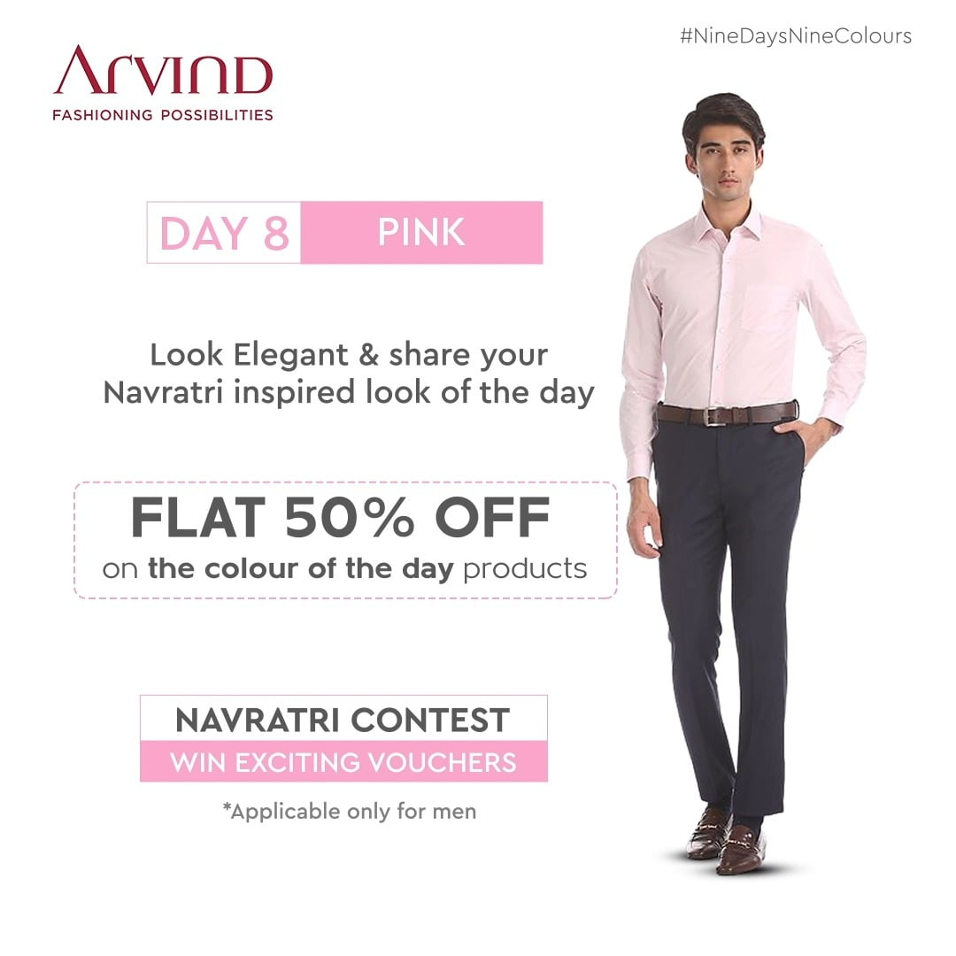The last day to win interesting vouchers is TODAY! Get ready, look elegant in Pink and share your picture. Share your Navratri inspired look in Pink!  Applicable only for men Rules to participate:* Like the post of the day Share the post of the day in your story Tag 2 friends in Comment Section to participate in this contest Share your Navratri Ready image *T&C Apply Shop Now: https://bit.ly/30r6XDh  #Arvind #FashioningPossibilities #LandOfFestivals #FestiveReady #AnOdeToCelebrations #FestiveLook #FestiveLookBook #ArvindLookBook #EthnicWears #TraditionalOutfits #Menswear #ClassicCollection #ContestAlert #NavratriContest #9Days9Colours #ElegantInPink