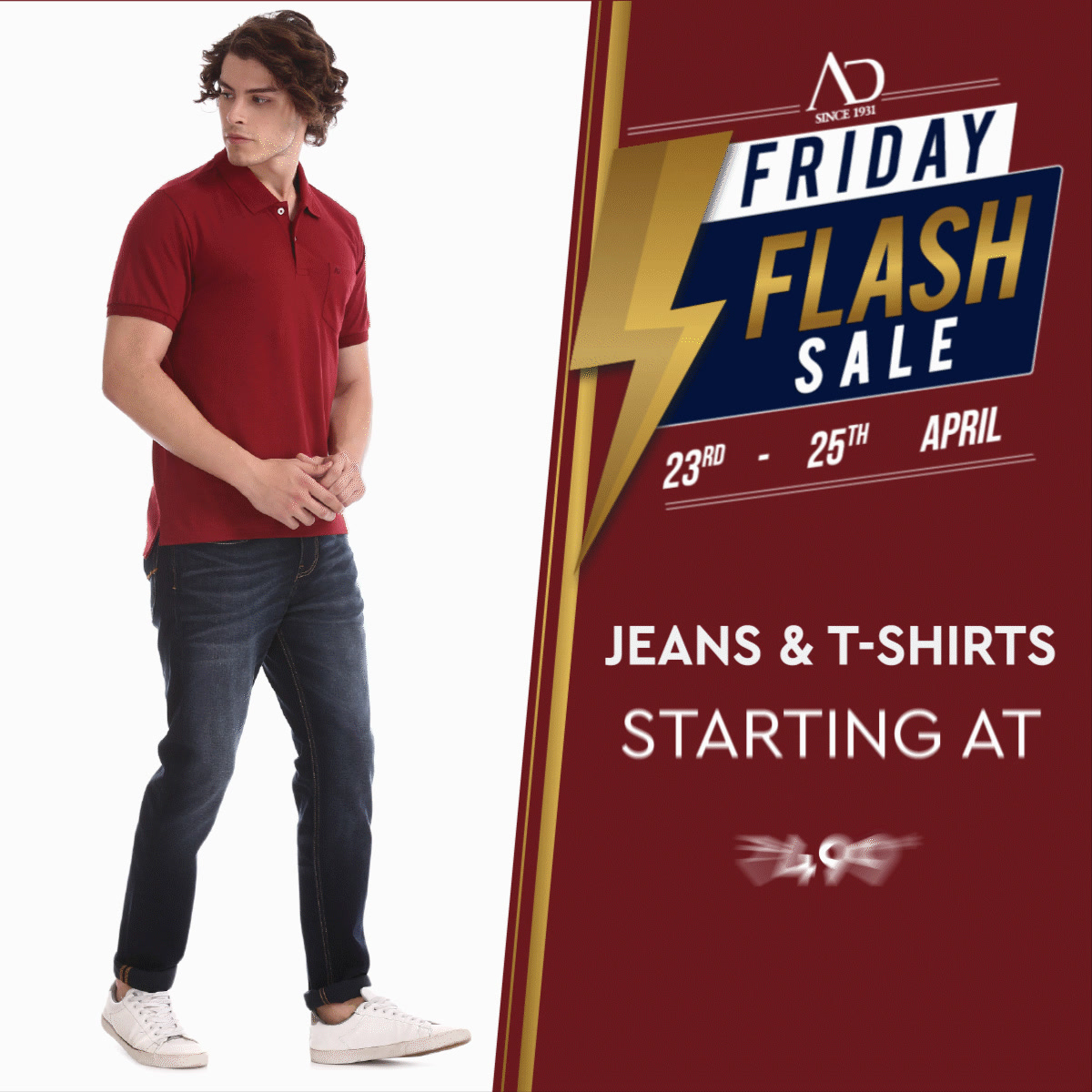 Get all set to wear your swag with Jeans & T-Shirts starting at just Rs.499*, only on 23rd, 24th & 25th April!  Shop now at arvind.nnnow.com  #ADbyArvind #ADfashion #FashioningPossibilities #FridayFlashSale #Menswear  #StayStylish  #Jeans #Tshirts #OfferAlert #FridayFashion #YayFriday