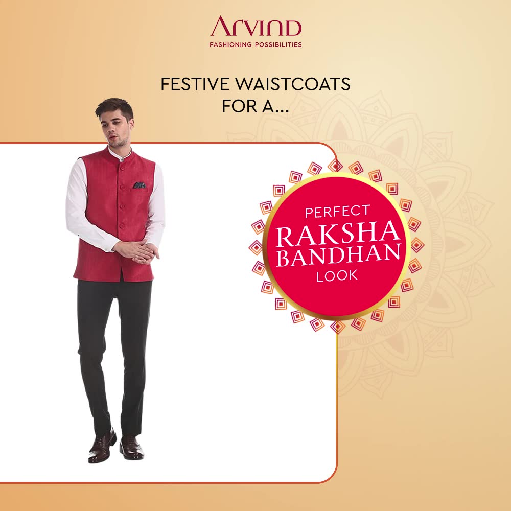 Are your ready to get festive with our Men's Traditional Collection? Our Ethnic Waistcoats will let you steal all the limelight as you look edgy with our sprightly-hued attires.   Click here to find your perfect fit: https://arvind.nnnow.com/products?&category=Waistcoats  #ADbyArvind #FashioningPossibilities #ReadyToWear #Menswear #StayStylish #FestiveEdit #Rakshabandhan #RakhiOutfit #WaistCoat #TraditionalWear #MensEthnic #MensFashion #Trends #Fashion #MensWear