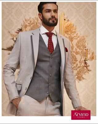 Look refined by pairing our 3 piece cut & sew lapel suit with a contrasting waistcoat and white shirt. To know more, book an appointment - http://bit.ly/TASBookAnAppointment