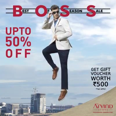 Elevate your style quotient with Best Of Season Sale at the Arvind store. We've saved the best for the last, with our ready-to-wear office outfits. Get up to 50% off. Also avail a gift voucher worth Rs. 500. Click here:  http://bit.ly/2u4oFZs  #TheBossIsHere