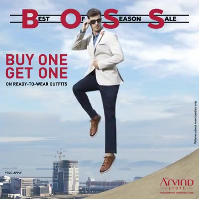 Time for Buy-One-Get-One with the Best of Season Sale! Choose from a wide range of fashionable ready-to-wear outfits like blazers, shirts, chinos and more at The Arvind Store. T&C apply. Valid on select stores only.