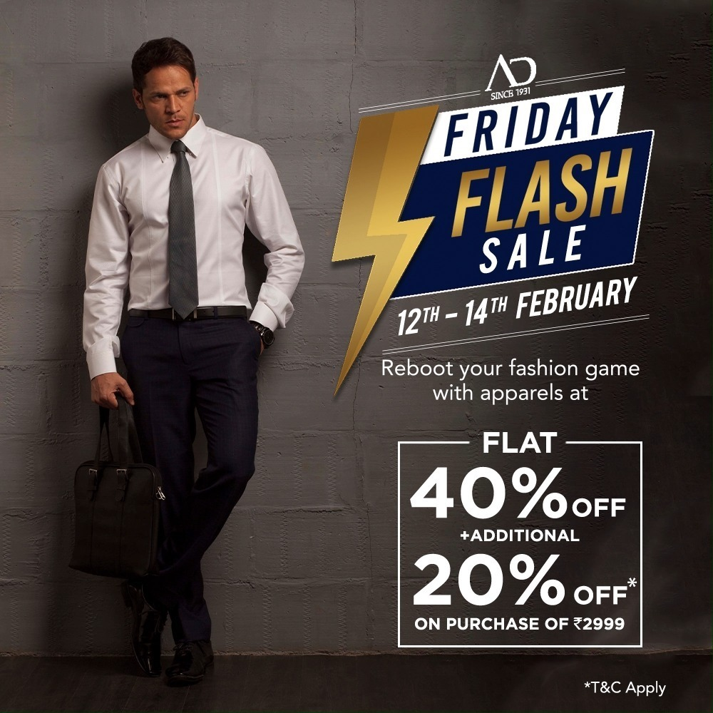 It's time to revamp your everyday style with AD collection at FLAT 40% OFF + additional 20% OFF* on purchase of Rs.2999. Sale is only on 12th-14th February.  Shop now at arvind.nnnow.com . . . #ADfashion #ArvindFashion #TheArvindStore #FridayFlashsale #FridaySale #2021sale #discounts #Menswear #MensFashion #Fashion #style #comfortable #classicmenswear #texturedfabrics #firstimpressions #dressforsuccess #StayStylish