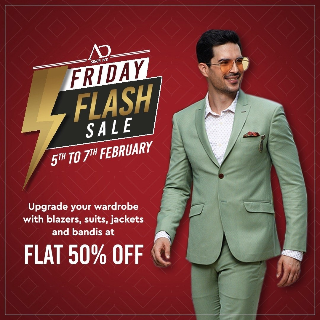AD Friday Flash Sale is live now! Enjoy the best offers and get FLAT 50% OFF on blazers, suits, jackets and bandis. Sale starts on 5th - 7th February.   Shop now at arvind.nnnow.com . . . #ADfashion #ArvindFashion #TheArvindStore #FridayFlashsale #FridaySale #2021sale #discounts #Menswear #MensFashion #Fashion #style #comfortable #classicmenswear #texturedfabrics #firstimpressions #dressforsuccess #StayStylish