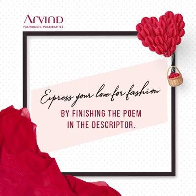 Take part in Arvind's #OdeToFashion contest and stand to win a voucher worth Rs. 1000 /-. Comment below with your response with #ArvindFashioningPossibilities #ArvindOdeToFashion