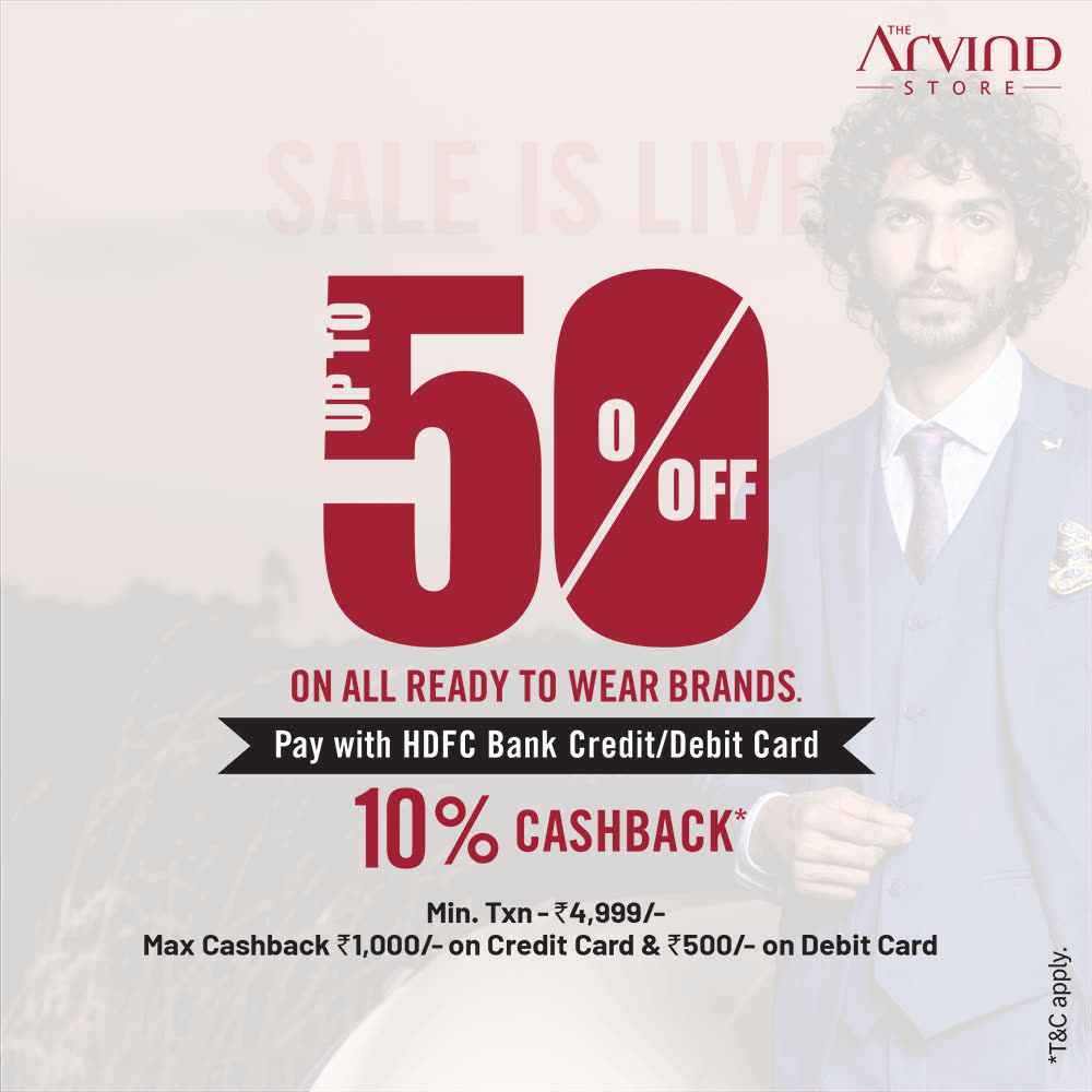 Rush to  #TheArvindStore and grab up to 50% off* on all ready to wear brands.  We take all the safety precautions.  #Arvind #ReadyToWear #Menswear  #OfferAlert #Sale #StyleUpNow #Dapper #FashioningPossibilities