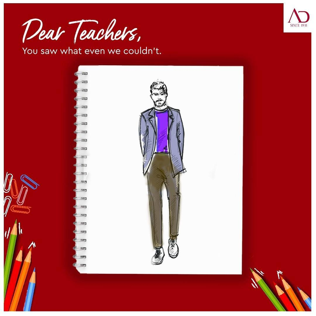 Thank you teacher's for shaping and teaching us to the best versions of ourselves. Thank you for always having our back. Happy Teacher's Day from AD! . . . #TeachersDay #TeachersDay2020 #ADfashion #ArvindFashion #MensFashion #fashion #style #thankyou #teachers #bestversion #teaching #appreciationforteachers